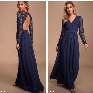 Lulu's Navy Blue Awaken My Love Lace Maxi Dress XL